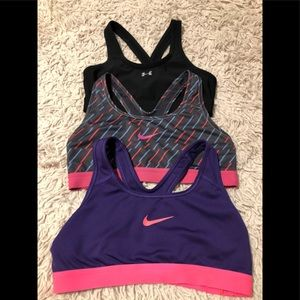 3 Size Small sports Bras UA and 2 - Nike